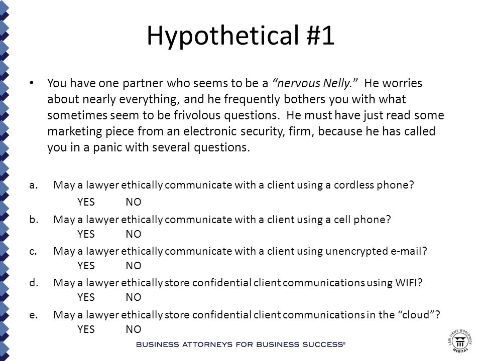 Hypothetical #30 (continued) a.How are the lawyer websites characterized for ethics marketing rules purposes: Direct mail.