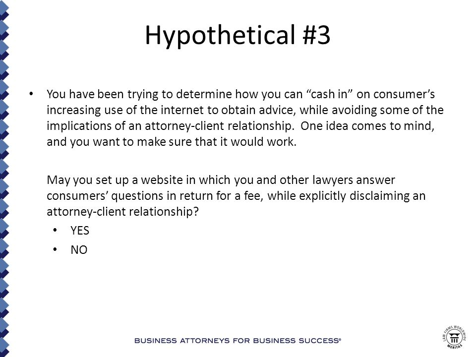 Hypothetical #13 You have read about the useful data a lawyer can obtain about an adverse party or witness by searching social media sites.