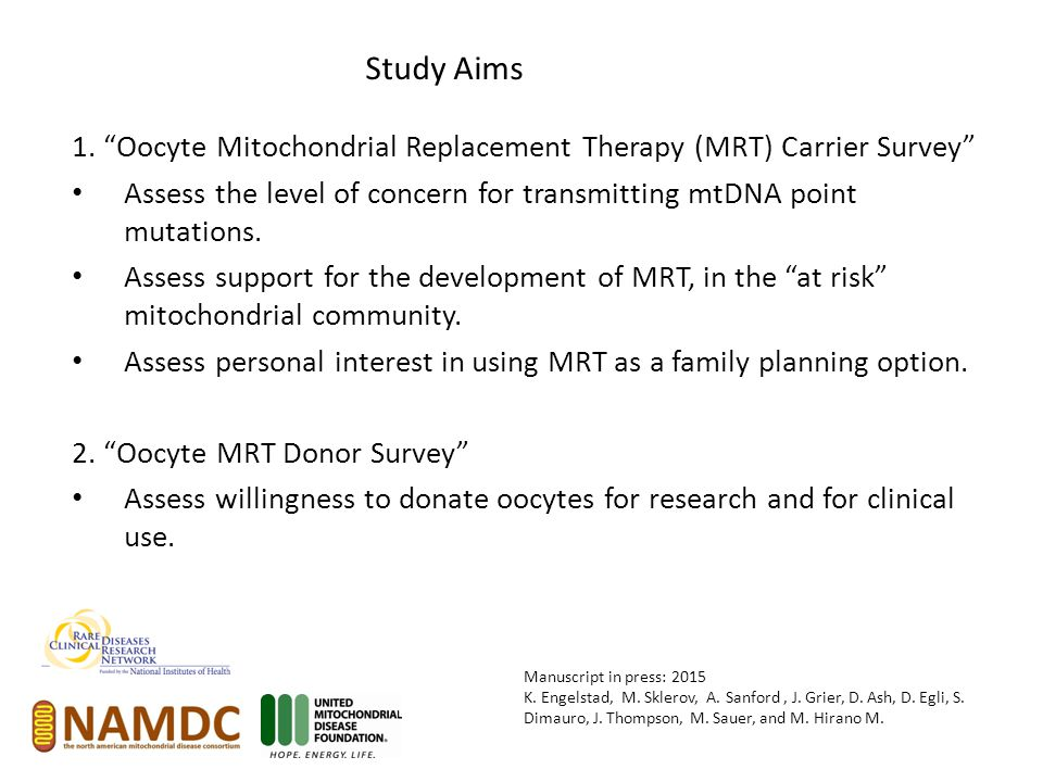 """1. """"Oocyte Mitochondrial Replacement Therapy (MRT) Carrier Survey"""" Assess the level of concern for transmitting mtDNA point mutations. Assess support"""