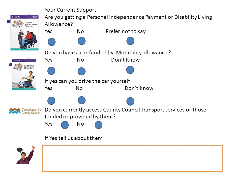 Your Current Support Are you getting a Personal Independence Payment or Disability Living Allowance.