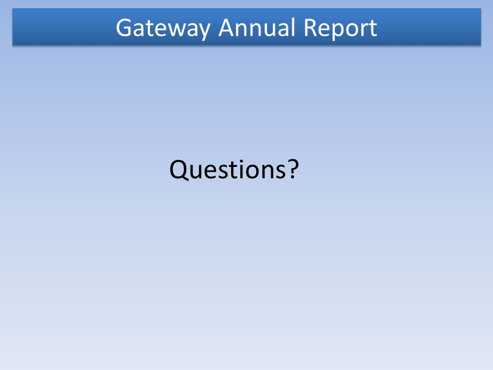 Gateway Annual Report Questions?