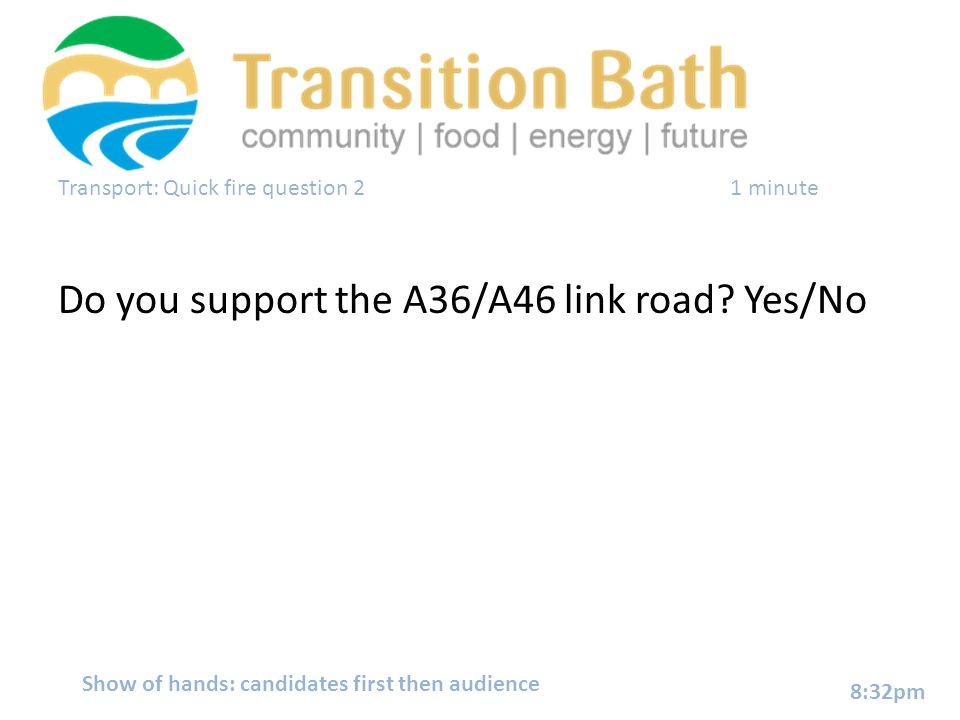 Transport: Quick fire question 2 1 minute Do you support the A36/A46 link road.