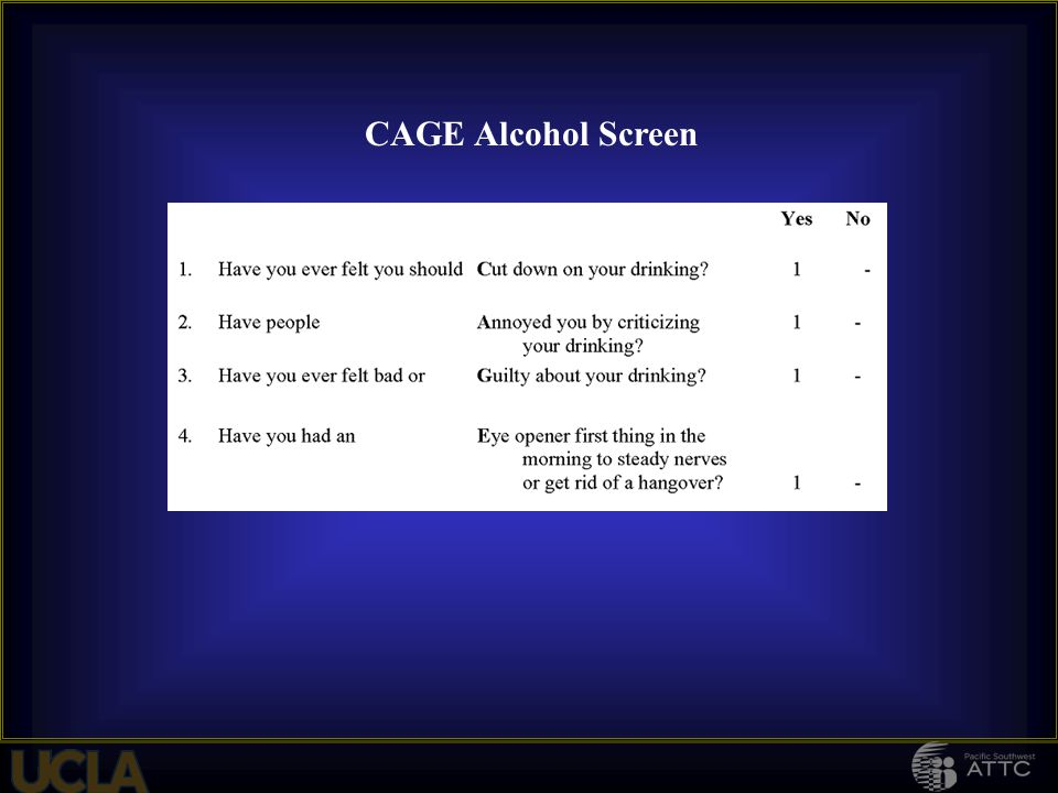 CAGE Alcohol Screen