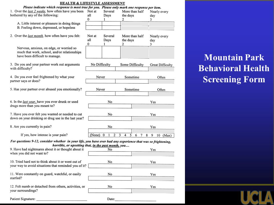Mountain Park Behavioral Health Screening Form * *