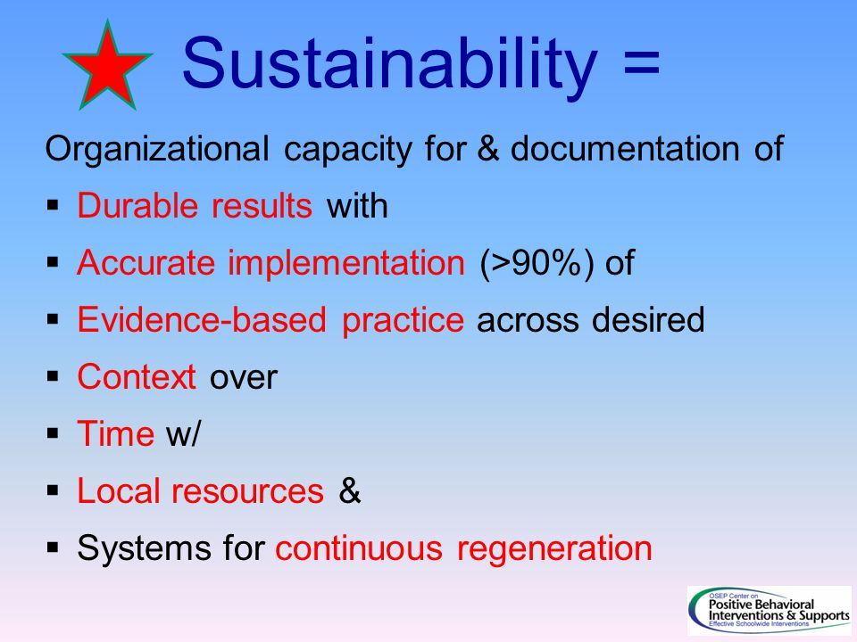Sustainability = Organizational capacity for & documentation of  Durable results with  Accurate implementation (>90%) of  Evidence-based practice across desired  Context over  Time w/  Local resources &  Systems for continuous regeneration