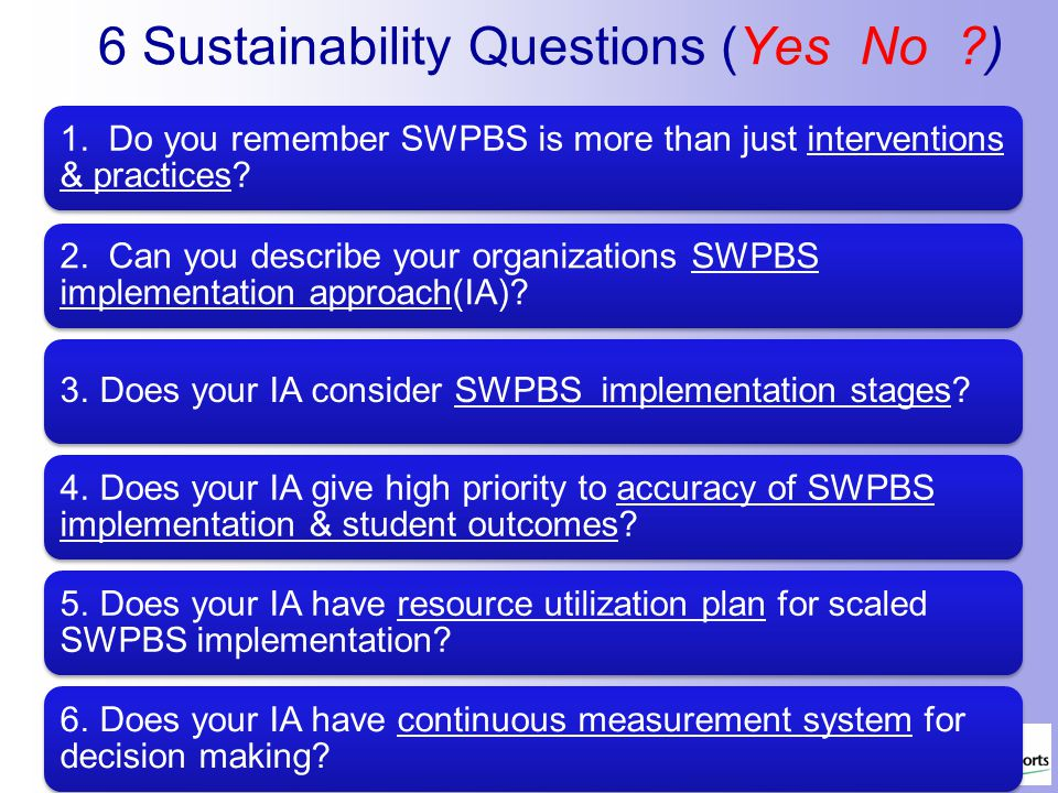 6 Sustainability Questions (Yes No ?)