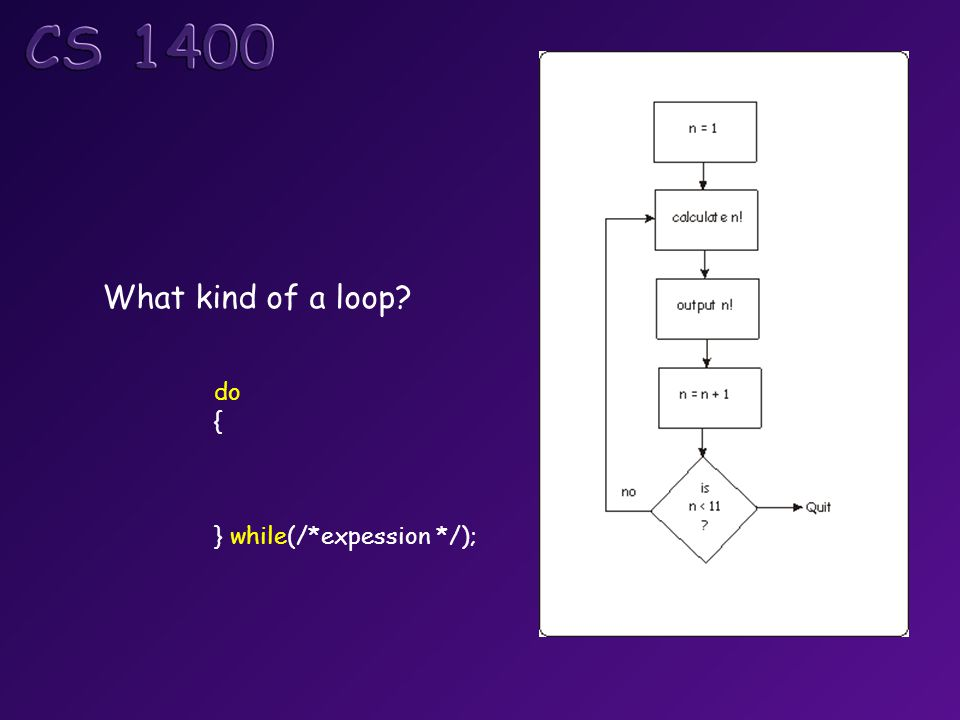 What kind of a loop? do { } while(/*expession */);