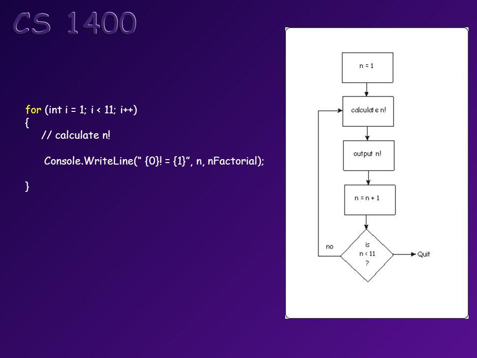 for (int i = 1; i < 11; i++) { // calculate n! Console.WriteLine( {0}! = {1} , n, nFactorial); }