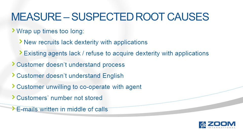 MEASURE – SUSPECTED ROOT CAUSES Wrap up times too long: New recruits lack dexterity with applications Existing agents lack / refuse to acquire dexterity with applications Customer doesn't understand process Customer doesn't understand English Customer unwilling to co-operate with agent Customers' number not stored E-mails written in middle of calls