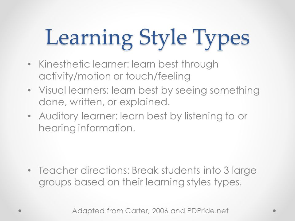 Learning Styles Results If you total for any category is between 22 and 28, this is your dominant learning style.