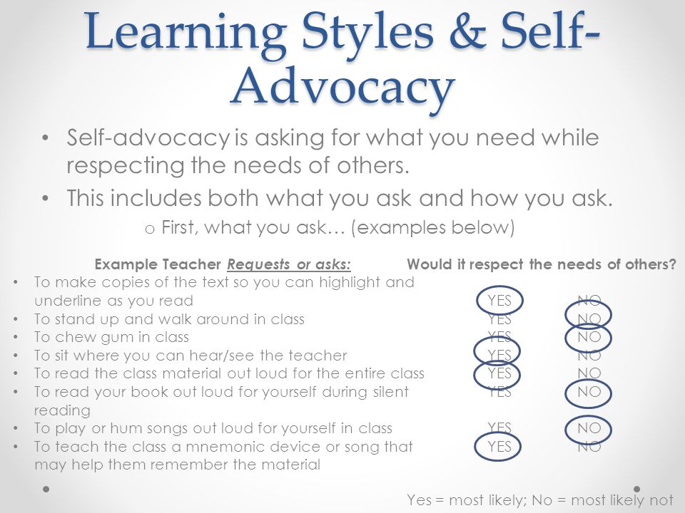 Auditory Learning Strategies Read the list of learning strategies from your handout.