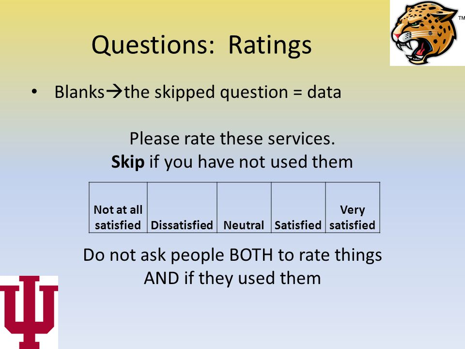 Questions: Ratings Blanks  the skipped question = data Please rate these services.