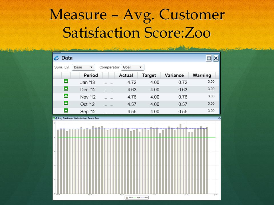 Measure – Avg. Customer Satisfaction Score:Zoo