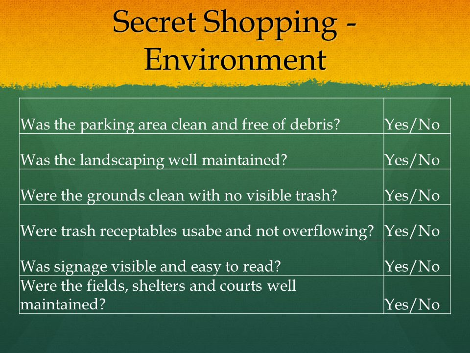 Secret Shopping - Environment Was the parking area clean and free of debris?Yes/No Was the landscaping well maintained?Yes/No Were the grounds clean w