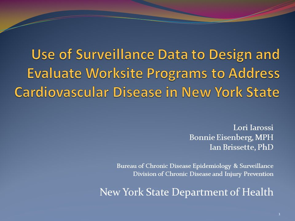 Lori Iarossi Bonnie Eisenberg, MPH Ian Brissette, PhD Bureau of Chronic Disease Epidemiology & Surveillance Division of Chronic Disease and Injury Prevention New York State Department of Health 1