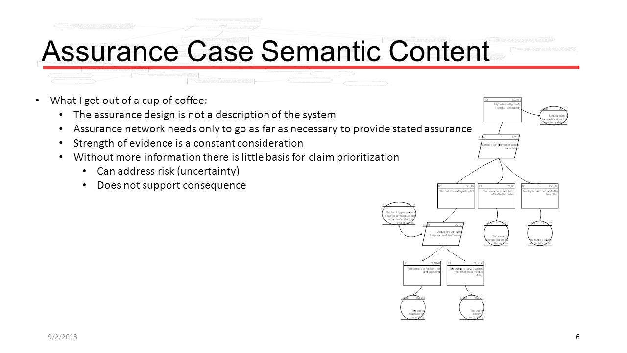 Assurance Case Semantic Content What I get out of a cup of coffee: The assurance design is not a description of the system Assurance network needs only to go as far as necessary to provide stated assurance Strength of evidence is a constant consideration Without more information there is little basis for claim prioritization Can address risk (uncertainty) Does not support consequence 9/2/20136