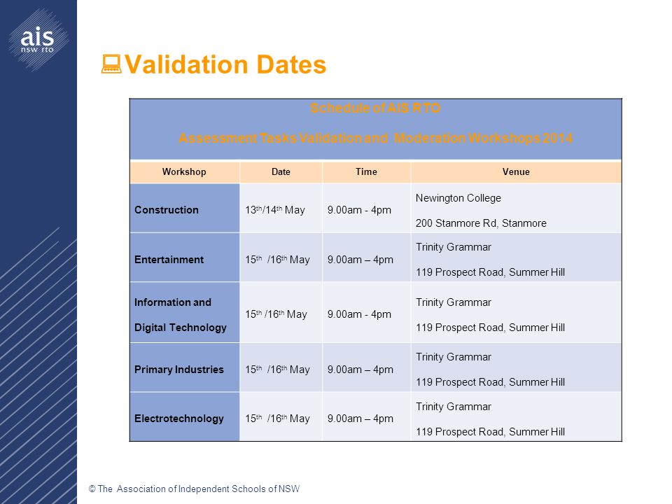 © The Association of Independent Schools of NSW  Validation Dates Schedule of AIS RTO Assessment Tasks Validation and Moderation Workshops 2014 WorkshopDate TimeVenue Construction13 th /14 th May9.00am - 4pm Newington College 200 Stanmore Rd, Stanmore Entertainment15 th /16 th May9.00am – 4pm Trinity Grammar 119 Prospect Road, Summer Hill Information and Digital Technology 15 th /16 th May9.00am - 4pm Trinity Grammar 119 Prospect Road, Summer Hill Primary Industries15 th /16 th May9.00am – 4pm Trinity Grammar 119 Prospect Road, Summer Hill Electrotechnology15 th /16 th May9.00am – 4pm Trinity Grammar 119 Prospect Road, Summer Hill