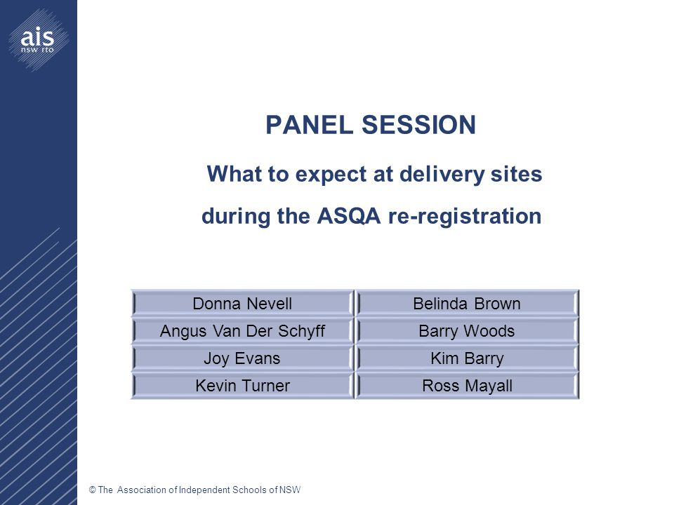 © The Association of Independent Schools of NSW PANEL SESSION What to expect at delivery sites during the ASQA re-registration Donna NevellBelinda Brown Angus Van Der SchyffBarry Woods Joy EvansKim Barry Kevin TurnerRoss Mayall