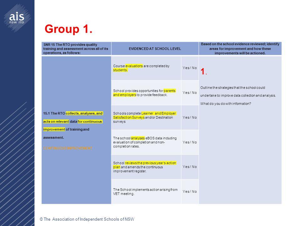 © The Association of Independent Schools of NSW Veronica NiessenHeather ChandConsultant: VET vniessen@aisnsw.edu.auhchand@aisnsw.edu.au Level 12, 99 York Street, Sydney NSW 2000 Phone (02) 9299 2845 Fax (02) 9290 2274 Web aisnsw.edu.au Email vet@aisnsw.edu.au ABN 96 003 509 073 Contact Details
