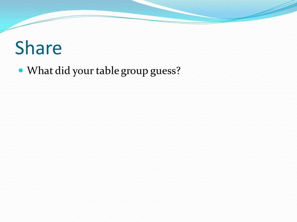 Share What did your table group guess?