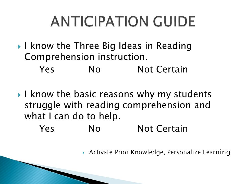  I know the Three Big Ideas in Reading Comprehension instruction.
