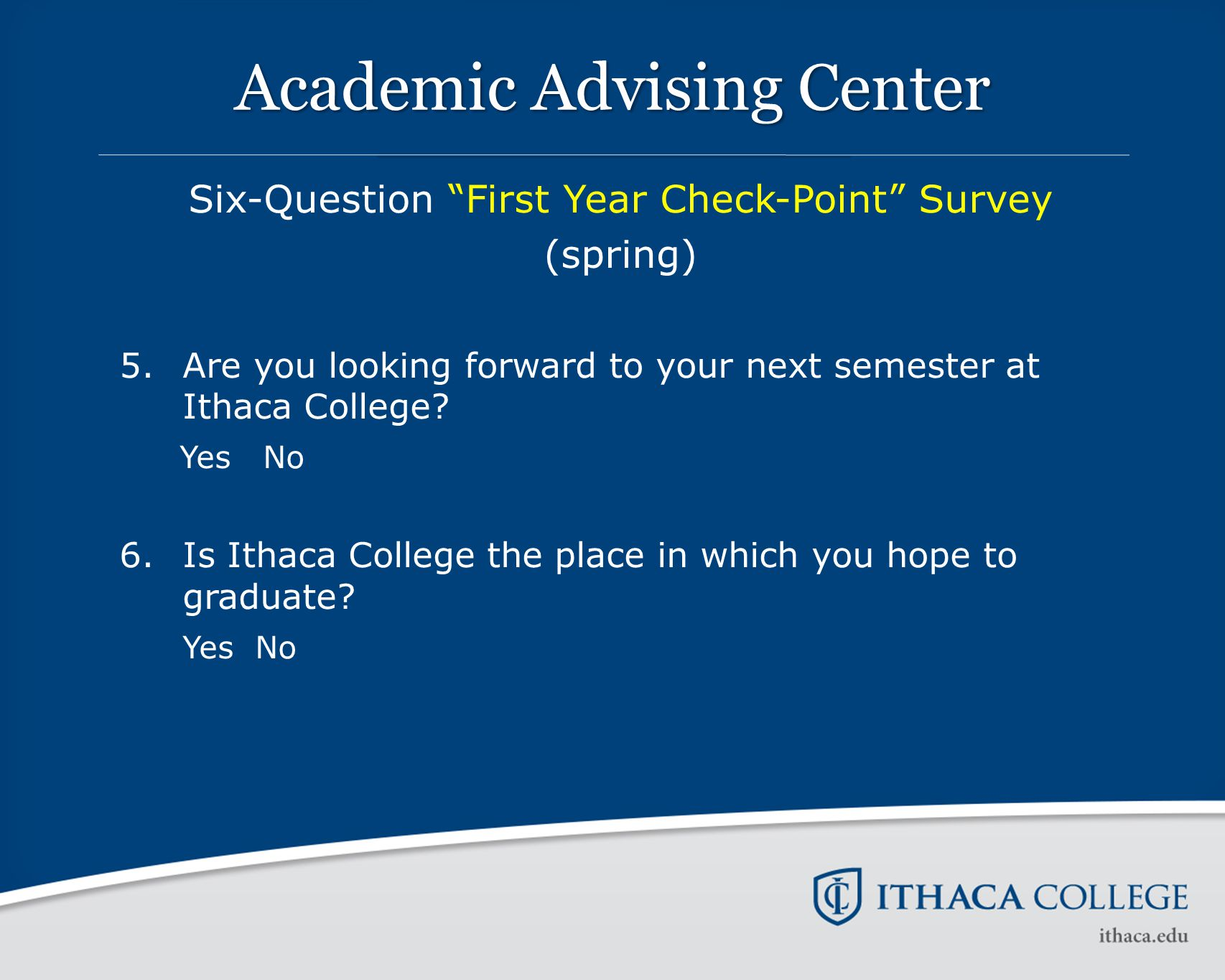 "Academic Advising Center Six-Question ""First Year Check-Point"" Survey (spring) 5. Are you looking forward to your next semester at Ithaca College? Yes"