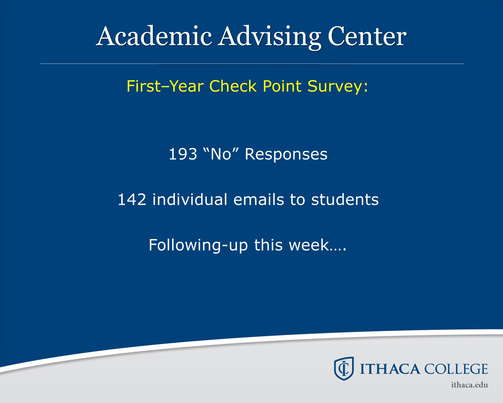 "Academic Advising Center First–Year Check Point Survey: 193 ""No"" Responses 142 individual emails to students Following-up this week…."