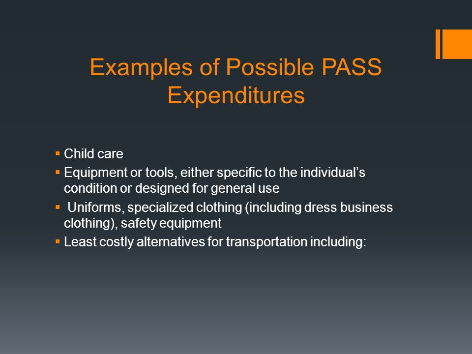 Examples of Possible PASS Expenditures  Child care  Equipment or tools, either specific to the individual's condition or designed for general use  Uniforms, specialized clothing (including dress business clothing), safety equipment  Least costly alternatives for transportation including: