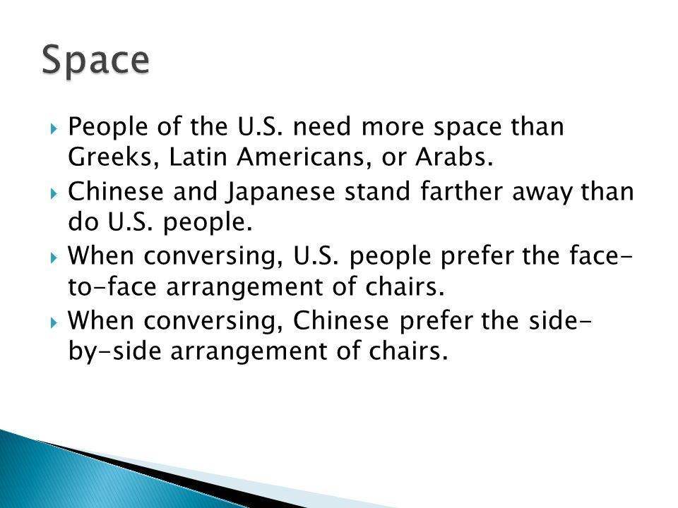  People of the U.S. need more space than Greeks, Latin Americans, or Arabs.
