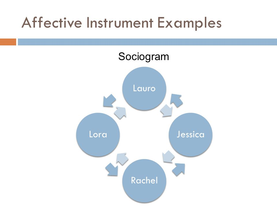 Affective Instrument Examples LauroJessicaRachelLora Sociogram