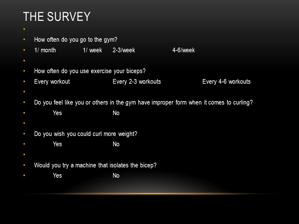 THE SURVEY How often do you go to the gym.