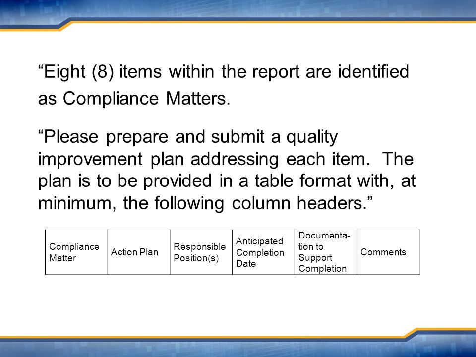 Eight (8) items within the report are identified as Compliance Matters.