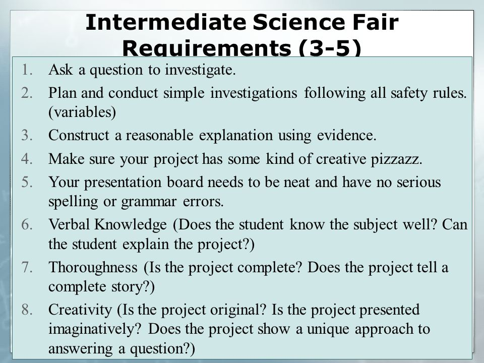 Intermediate Science Fair Requirements (3-5) 1.Ask a question to investigate.