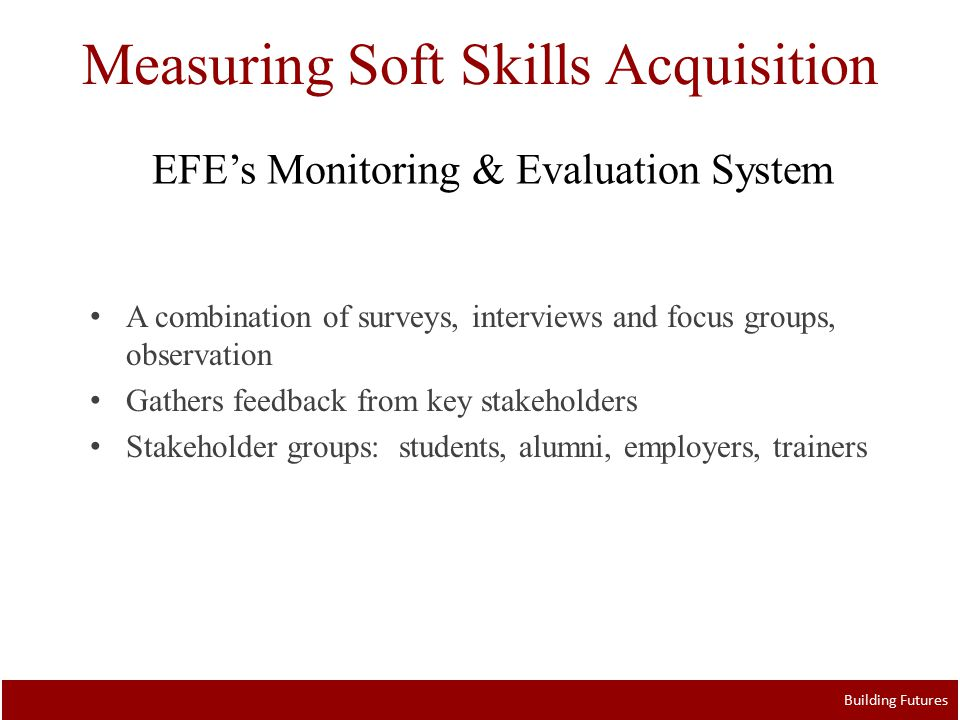 Measuring Soft Skills Acquisition Building Futures A combination of surveys, interviews and focus groups, observation Gathers feedback from key stakeholders Stakeholder groups: students, alumni, employers, trainers EFE's Monitoring & Evaluation System