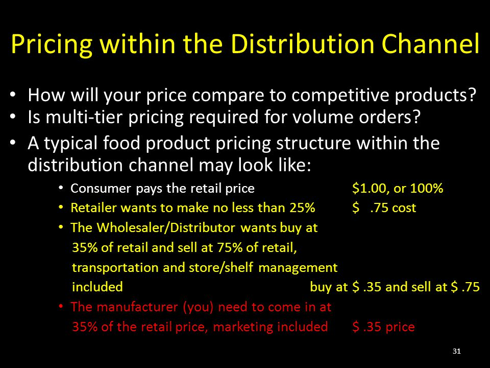 Pricing within the Distribution Channel How will your price compare to competitive products? Is multi-tier pricing required for volume orders? A typic