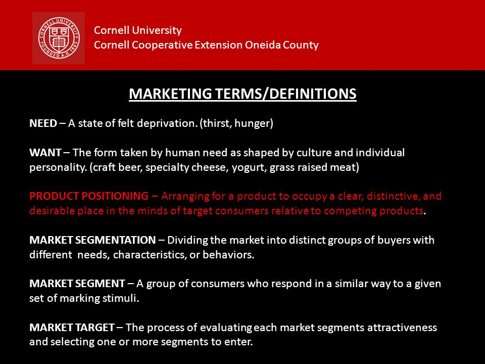 Cornell University Cornell Cooperative Extension Oneida County CONTENTS OF A MARKETING PLAN Cover Page Executive Summary Table of Contents Current Marketing Situation Threats and Opportunities (SWOT) Objectives and Issues Marketing Strategy Action Programs Budget Appendix