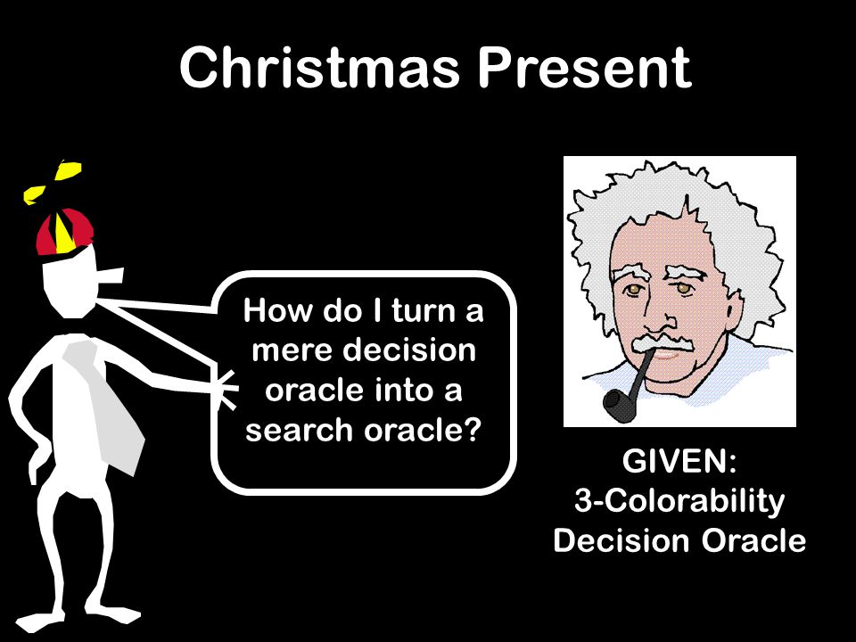 How do I turn a mere decision oracle into a search oracle? GIVEN: 3-Colorability Decision Oracle Christmas Present