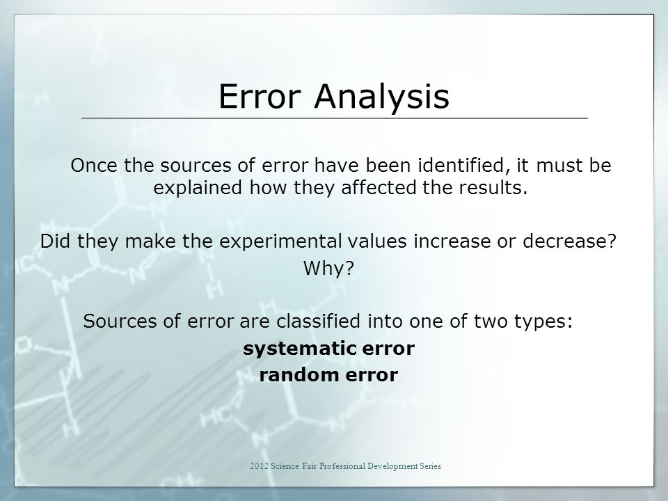 Error Analysis Once the sources of error have been identified, it must be explained how they affected the results.