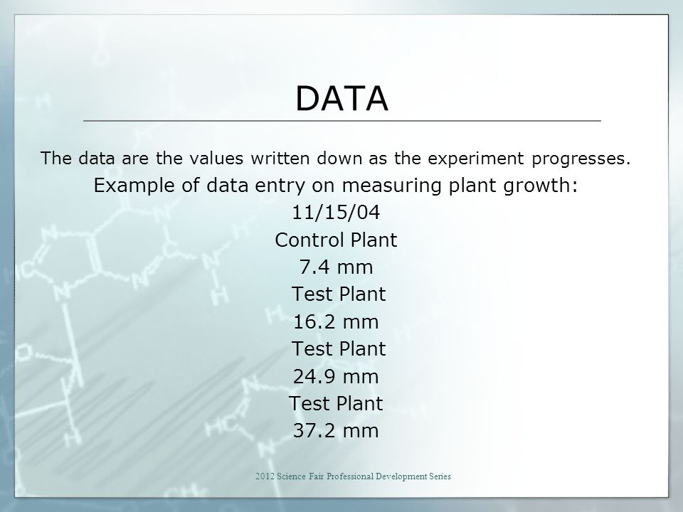 DATA The data are the values written down as the experiment progresses.