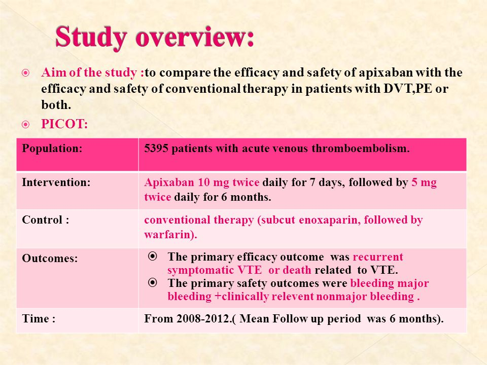  Aim of the study :to compare the efficacy and safety of apixaban with the efficacy and safety of conventional therapy in patients with DVT,PE or bot