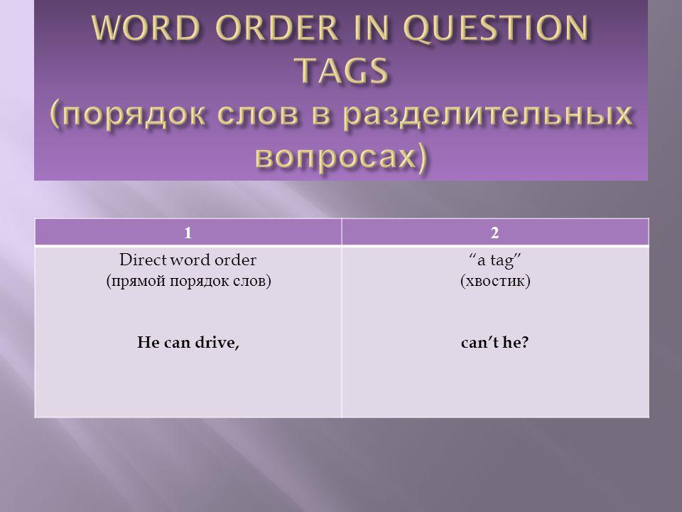 12 Direct word order ( прямой порядок слов ) He can drive, a tag ( хвостик ) can't he?