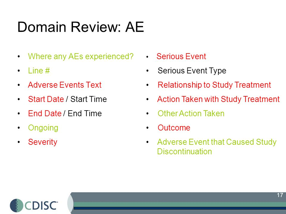 17 Domain Review: AE Where any AEs experienced.