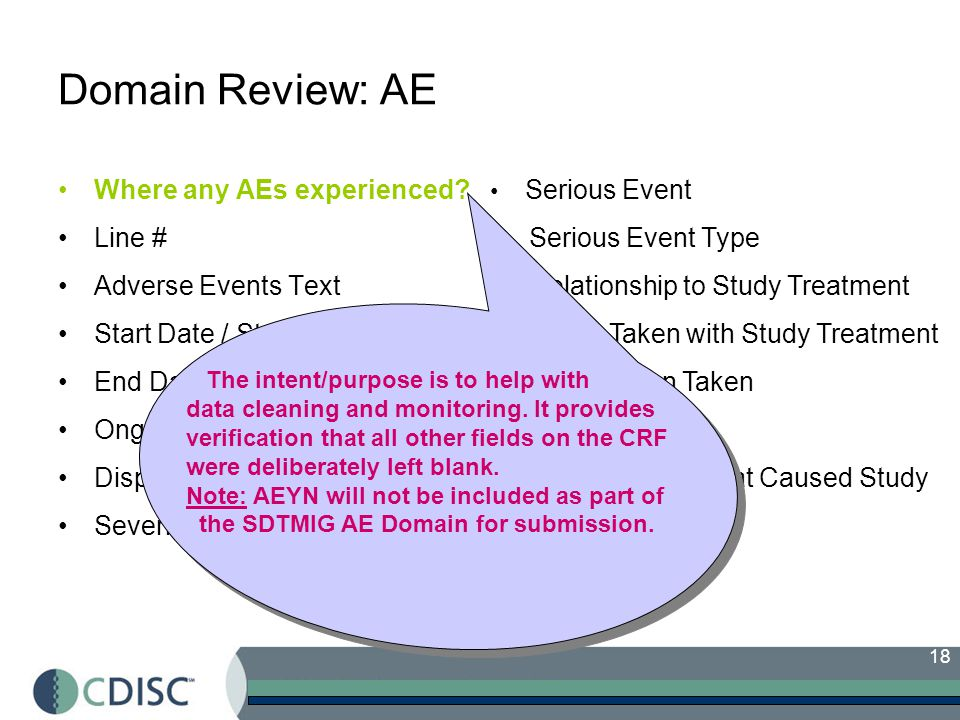 18 Domain Review: AE Where any AEs experienced.