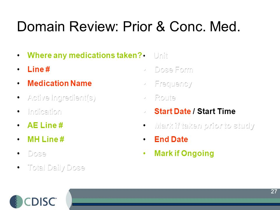 27 Domain Review: Prior & Conc. Med.