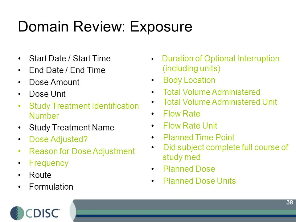 38 Domain Review: Exposure Start Date / Start Time End Date / End Time Dose Amount Dose Unit Study Treatment Identification Number Study Treatment Name Dose Adjusted.