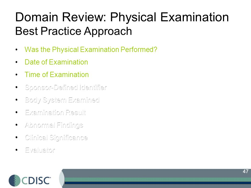 47 Domain Review: Physical Examination Best Practice Approach
