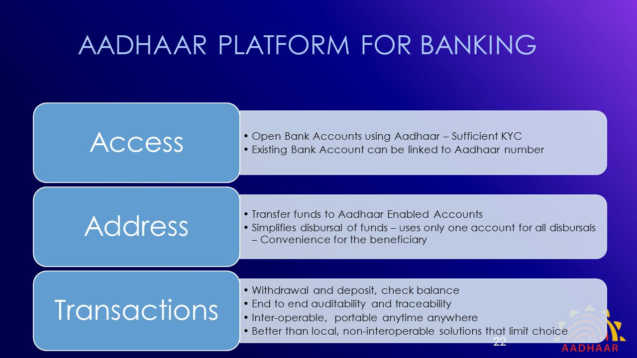 Open Bank Accounts using Aadhaar – Sufficient KYC Existing Bank Account can be linked to Aadhaar number Access Transfer funds to Aadhaar Enabled Accou