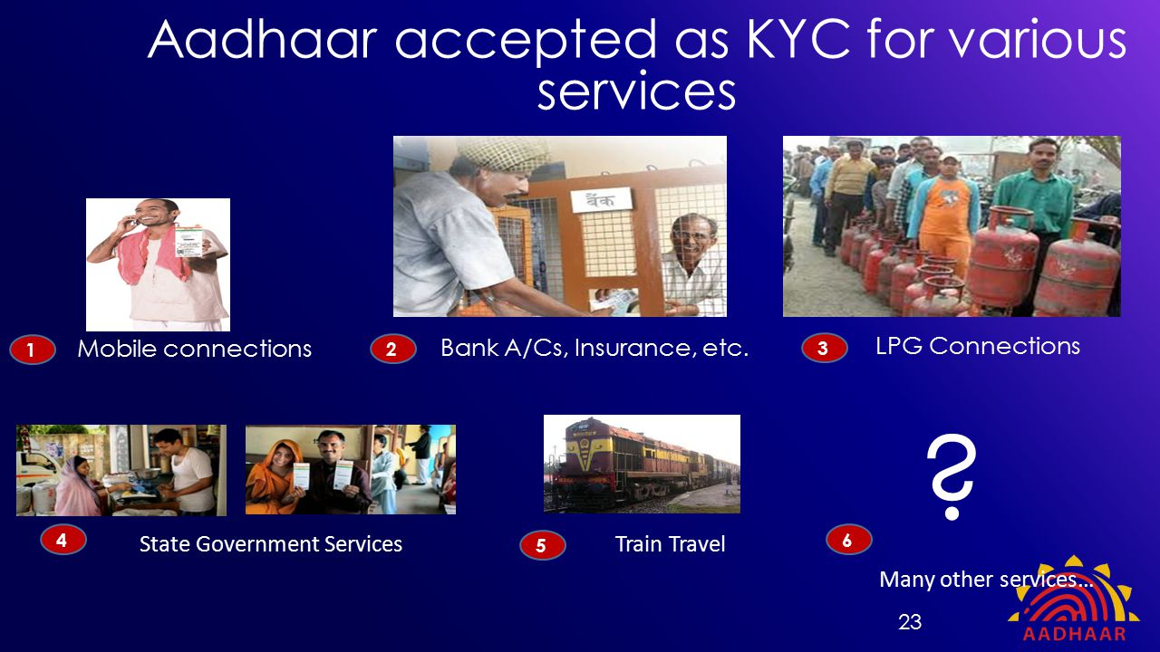 Mobile connections Bank A/Cs, Insurance, etc. State Government Services Aadhaar accepted as KYC for various services 1 2 4 LPG Connections 3 Train Tra