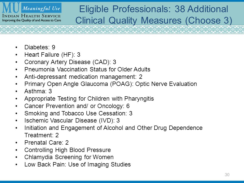 Eligible Professionals: 38 Additional Clinical Quality Measures (Choose 3) Diabetes: 9 Heart Failure (HF): 3 Coronary Artery Disease (CAD): 3 Pneumoni
