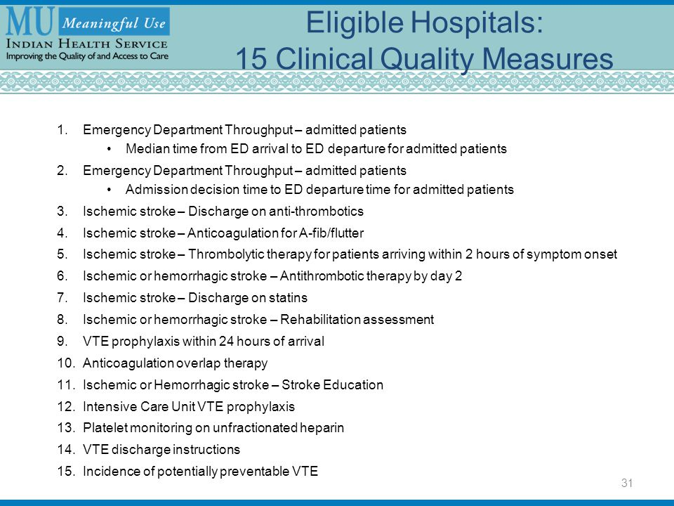 Eligible Hospitals: 15 Clinical Quality Measures 1.Emergency Department Throughput – admitted patients Median time from ED arrival to ED departure for